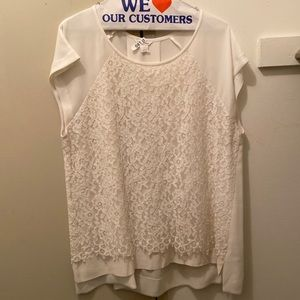 CLUB MONACO Top with Lace - White